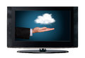 Television cloud computing isolated white background Stock Photo
