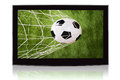 Television Displaying Soccer Ball And Net Royalty Free Stock Photo