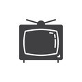 Television icon vector, filled flat sign, solid pictogram isolated on white.