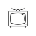 Television line icon, outline vector sign, linear style pictogram isolated on white