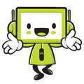 Television mascot the direction of pointing with both hands app appliances and household character design series Stock Images