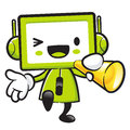 Television mascot the hand is holding a loudspeaker appliances and household character design series Royalty Free Stock Image