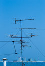 Television receiver on top of building Stock Images