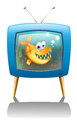 A television show about fish illustration of on white background Royalty Free Stock Images