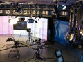 Television studio equipment, spotlight truss and p Royalty Free Stock Photo
