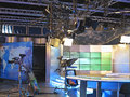 Television studio equipment, spotlight truss and professional ca Royalty Free Stock Photo