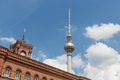 Television tower berlin behind the facade of the rotes rathaus view at Stock Photography