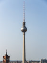 Television tower berlin and skyline in in sunset Royalty Free Stock Image
