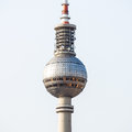 Television tower berlin view on in with blue sky Stock Photos