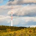 Antenna in autumn forest