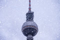 Television tower winter in berlin with snow Stock Images