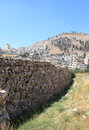 Tell balata archaeological site shechem view of the with the remains of the wall of the ancient canaanite israelite village the Royalty Free Stock Photo
