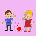 Tell love by cup telephone i you Royalty Free Stock Photo