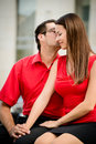 Tell me secret young business men whispering to her colleague girlfriend Royalty Free Stock Photo