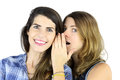 Telling a secret couple of beautiful young women gossiping Royalty Free Stock Photo