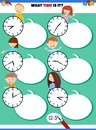 Telling time educational task with children characters