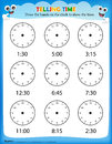 Telling time worksheet Royalty Free Stock Photo