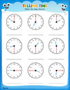 Telling time worksheet. Royalty Free Stock Photo
