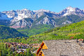 Telluride city panorama with snow mountain peaks and forestry hillsides beautiful town at high altitude on a sunny day in colorado Royalty Free Stock Image