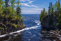 Temperance river lake superior the foamy flows out into s north shore minnesota Stock Photos