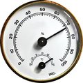 Temperature and humidity gauge analogue thermometer from a camera drybox Stock Photography
