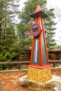 Temperature indicator in Santa Claus holiday village in Rovaniemi. Royalty Free Stock Photo
