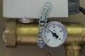 Temperature manometer in a boiler room Stock Photo