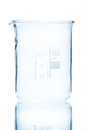 Temperature resistant cylindrical beaker for measurements ml on white Royalty Free Stock Photography