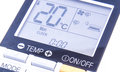 Temperature screen the of air conditioning remote control on the white background Stock Image