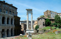 Tempio di Vespasiano Roman Ruins Royalty Free Stock Photo