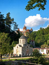 Templar s church and bran castle landmark of city Royalty Free Stock Photos