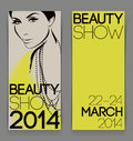 Template with attractive female for advertising flyer of beauty show beautiful vector illustration Stock Photography