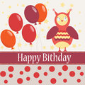 Template bithday greeting card background with colorful owl and ballon for your Royalty Free Stock Photo