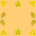 Template blanks for greetings and recordings surrounded by yellow leaves of chestnut birch oak Royalty Free Stock Photos