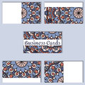Template business cards with oriental pattern and geometric circle element.