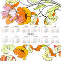 Template for calendar 2012 with flowers Stock Images