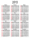 Template for calendar 2013. Stock Photography