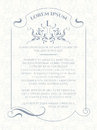 Template card. Monogram, border, frame and classic seamless pattern.