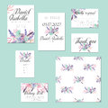 Template cards set with watercolor flower bouquets in pink and purple shades