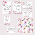 Template cards set with watercolor flowers of apple tree and roses