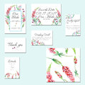 Template cards set with watercolor lupine flowers and other wildflowers