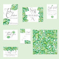 Template cards set with watercolor monstera leaves