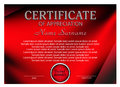 Template certificate or diploma. Modern red design. Vector
