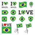 Flag of Brazil. Set of vector Flags. I love Brazil Royalty Free Stock Photo