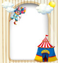 A template with a clown and a circus tent illustration of Stock Photo