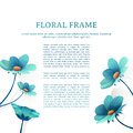 Template design banner with flower decor. Place for you text. Summer blue flower frame. Vector.
