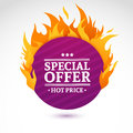 Template design circle banner with Special sale. Purple round card for hot offer