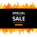 Template design horizontal banner with Special sale. Card for hot offer with frame fire graphic. Invitation layout