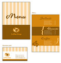 Template designs of menu and business card for cof Royalty Free Stock Photography