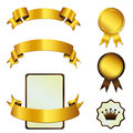 Template of gold tapes and medals eps Stock Photo